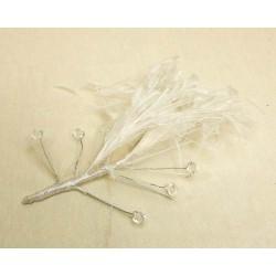 Tocado Blanco Plumas y Pedreria