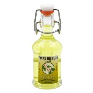 Botellita de licor Finas Hierbas 40 ml, modelo Siphón en cristal
