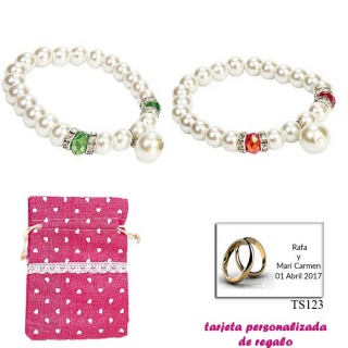 Pulsera de perlas blancas con piedras de colores surtidos en rojo o verde