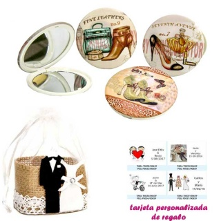 Espejos vintage con zapatos de tacón y bonitos dibujos, con bolsa de yute y tarjeta personalizada