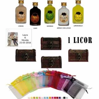 Pack boda 1 licor con baúl bolsa de organza y tarjeta