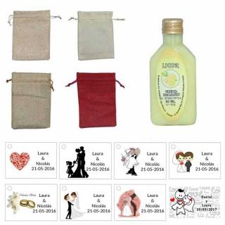 Licor de crema de limón 50ml con bolsa de saco y tarjeta