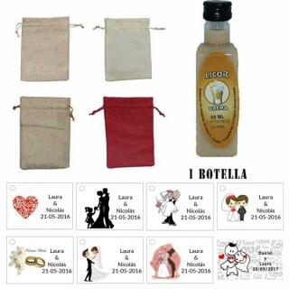 Licor Crema en una bolsa de saco y tarjeta