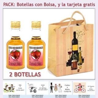 2 Botellitas de Licor de Fresas con Chocolate con bolsa y tarjeta