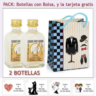 "2 Botellitas de Licor de Arroz con Leche con bolsa ""charlestón"" y tarjeta"