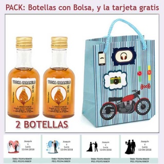2 Botellitas de Licor de Vodka Caramelo con bolsa con moto roja y tarjeta