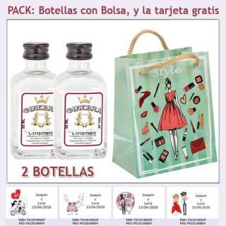 2 Botellitas de Ginebra Blanca con bolsa fashion con mujer y tarjeta