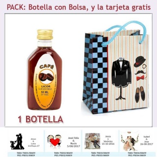 "Botellita de Licor de Café con bolsa ""charlestón"" y tarjeta"