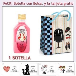"""Botellita de Licor de Fresas con Nata con bolsa """"charlestón"""" y tarjeta"""