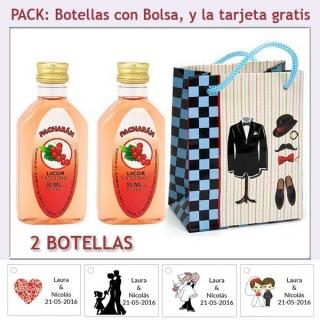 "2 Botellitas de Pacharán con bolsa ""charlestón"" y tarjeta"