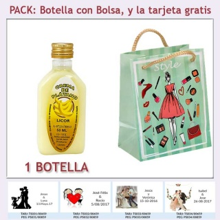 """Botellita de Licor de Crema de Plátano con bolsa """"fashion con mujer"""" y tarjeta"""