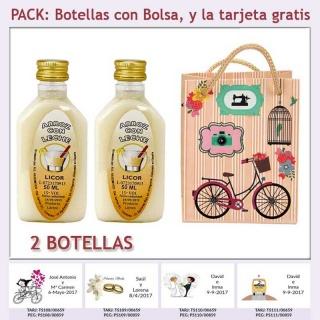 "2 Botellitas de Licor de Arroz con Leche con bolsa ""fashion con bicicleta"" y tarjeta"