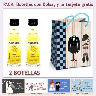 """2 Botellitas de Ron Miel con bolsa """"charlestón"""" y tarjeta"""