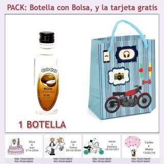 "Botellita de Ron de Coco con bolsa ""con moto roja"" y tarjeta"