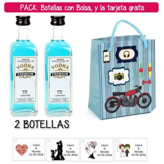"""2 Botellitas 60ml de Vodka Premium con bolsa """"con moto roja"""" y tarjeta"""