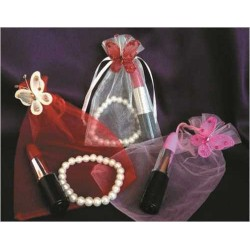 Pulseras  + Bolígrafos labial + Bolsa organza + Mariposa (precio unidad)
