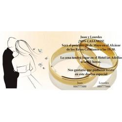 Invitación de boda novios alianzas
