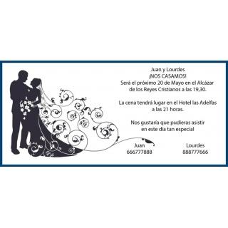 Invitación original de boda de novios vestido