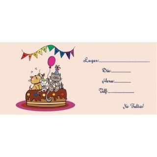 Invitación celebración infantil gatos en coche
