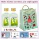 2 Botellitas de Ron Mojito con bolsa fashion con mujer y tarjeta