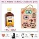 Botellita de Licor de Café con bolsa vintage con bicicleta y tarjeta