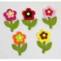 Surtido flores margaritas fieltro doble. Bolsa de 50 unidades. (8,5cm)