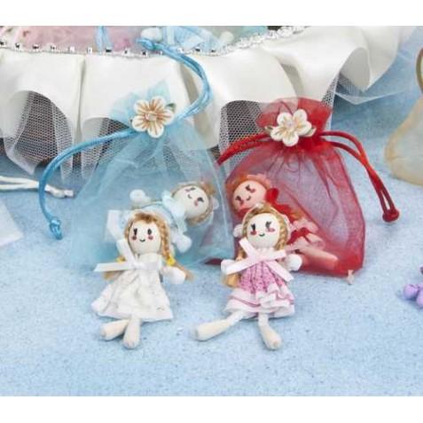 Broche muñeca decorado (20566) en organza surtido