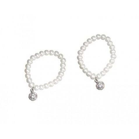 ? Pulseras de perlas Blancas con llamador brillante(precio unidad)