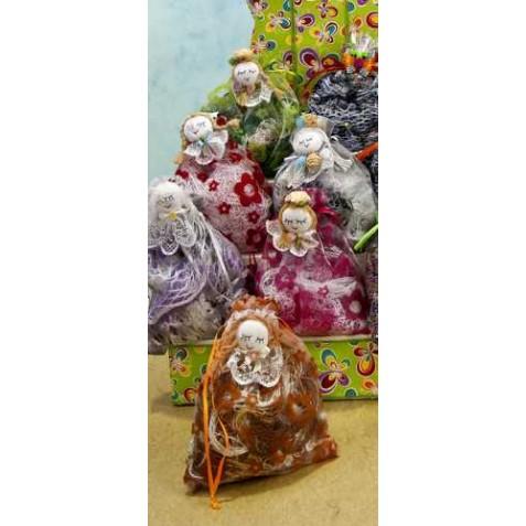 Pashimina en bolsa con broche muñeca surtido