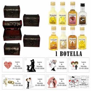 Regalos original para invitados de boda 1 licor con baúl