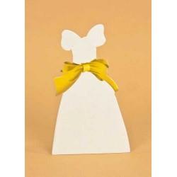 Tarjeta traje novia lazo dorado