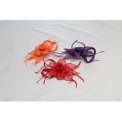 Tocado-Peina Flor Sinamay y  plumas 3 colores