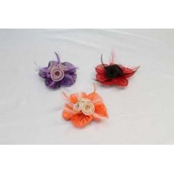 Tocado Bicolor Flor Sinamay y  plumas 3 colores
