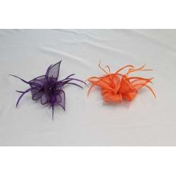 Tocado-Peina Flor Sinamay y  plumas 2 colores