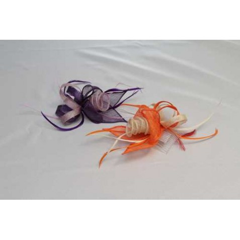 Original Tocado-Peina Flor Sinamay y plumas 3 colores