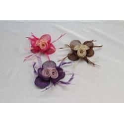 Original Tocado-Peina  Bicolor Flor sinamay y plumas faisan