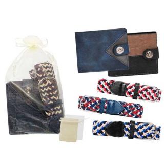 Cartera de piel y cinturón de tela elástico con bolsa de tul