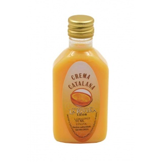 Botelllita de Licor de Crema Catalana, 50 ml modelo Petaca de plástico