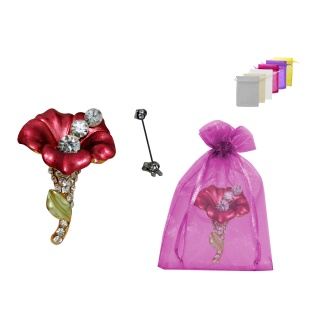 BROCHE DECOR ROSA 3 PERLAS + BOLSA TULL LISA (8942)