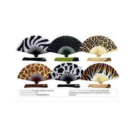 Abanico bambu diseño estampado animal