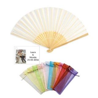 Abanico bambú en bolsa y tarjeta