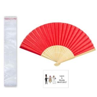 Abanico madera bambú en bolsa y tarjeta