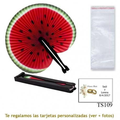 Abanico Pai Pai con diseño de sandía y con bolsa de celofan