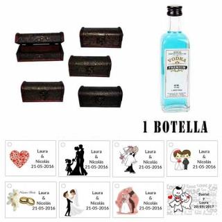 Regalo de boda para invitados 1 miniatura vodka premium con baúl