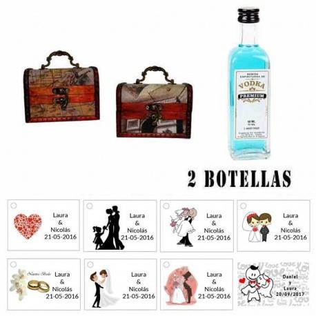 Regalo boda para invitados 2 miniaturas vodka premiumes con baúl