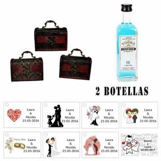 Regalo para boda para invitados 1 miniatura vodka premium con baúl