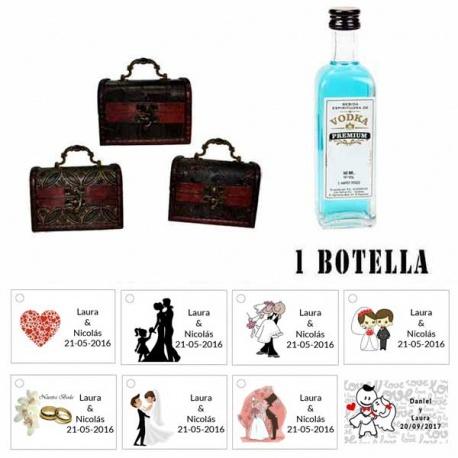 Regalo para boda para invitados 2 miniaturas vodka premiumes con baúl