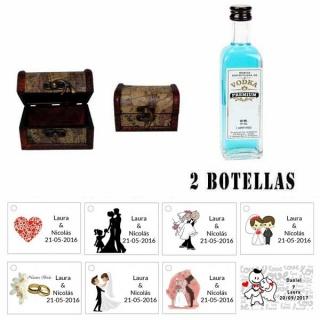 Regalo para una boda para invitados 2 miniaturas vodka premiumes con baúl