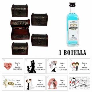 Regalo para invitados de boda 1 miniatura vodka premium con baúl