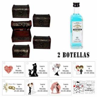 Regalo para invitados de boda 2 miniaturas vodka premiumes con baúl